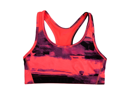 swimming costumes: Red sports bra. Isolate on white. Stock Photo