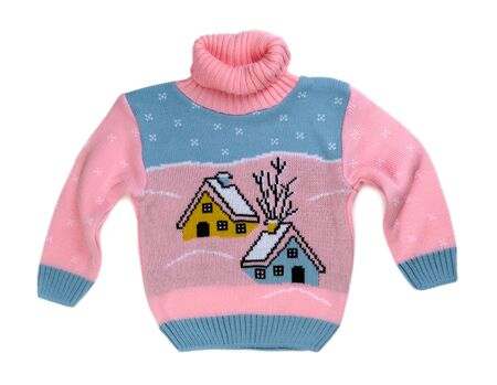 habiliment: Pink sweater with a pattern of the house. Isolate on white. Stock Photo