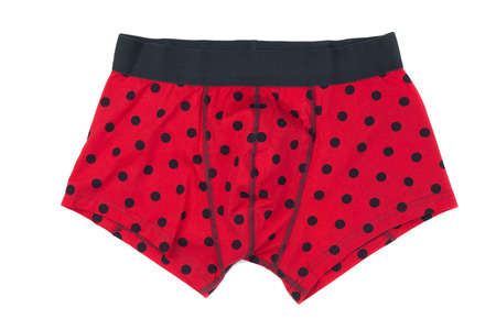 briefs: Boxer briefs in red polka dots. Isolate on white. Stock Photo