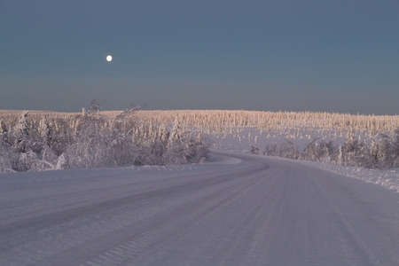snappy: Snow-covered road in the Arctic. Russia, Murmansk region. Early morning, the moon in the sky and trees in the sunlight. Stock Photo