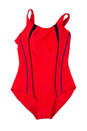 one piece swimsuit: Red swimsuit fused. Isolate not white. Stock Photo