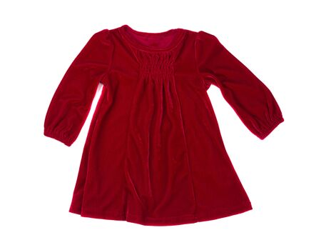 velvet dress: Elegant red velvet baby dress. Isolated on white.