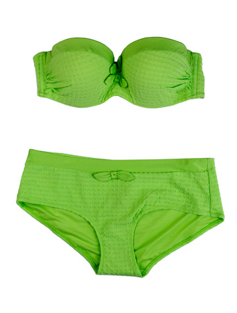 swimming costumes: Green swimsuit. Isolate on white. Stock Photo