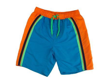 boardshorts: Blue shorts with orange stripes bathing. Isolate on white.