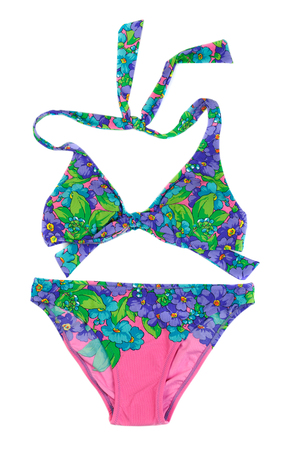 pink bikini: Blue with pink bikini set, isolate on white.