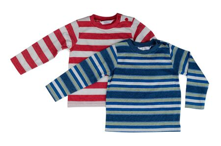 long sleeves: Two striped sweaters with long sleeves. Isolate on white. Stock Photo