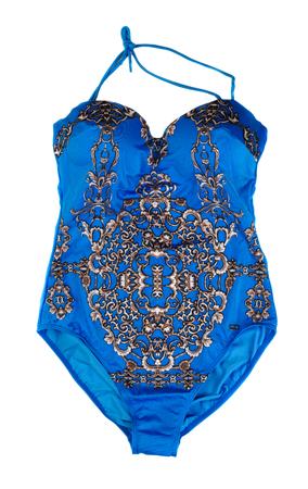 fused: Blue swimsuit fused. Isolate on white background Stock Photo