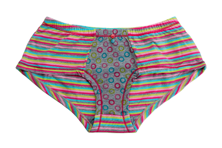 cotton panties: Striped colored cotton panties. Isolate on white.
