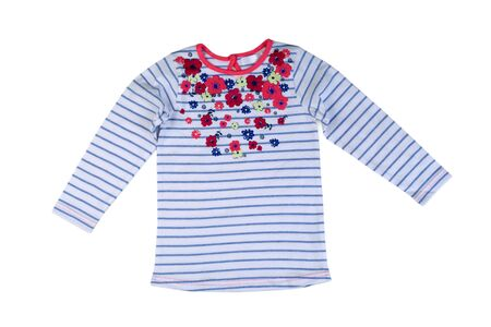 Childrens striped sweater with long sleeves. Isolate on white. Stock Photo