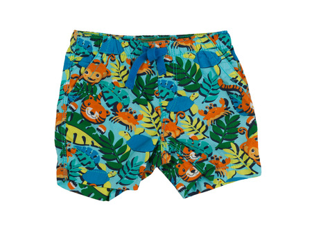 Shorts with a tropical pattern. Isolate on white.