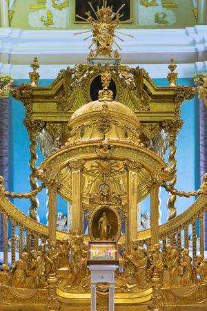 church interior: Golden church interior. St. Petersburg. Russia
