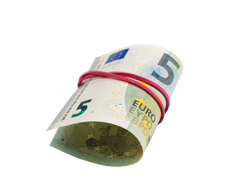 5 Euro Banknote rolls isolate on white Stock Photo