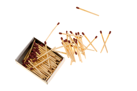 combustible: Matches with box, spilling on white background Stock Photo