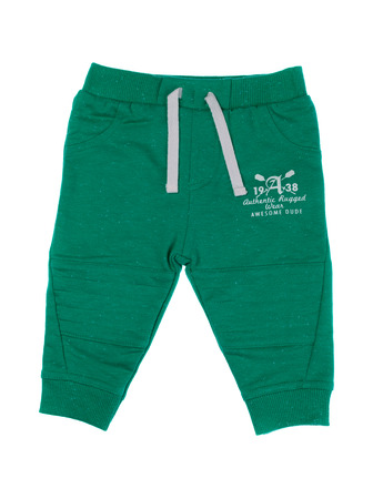 Childrens green pants, isolate on a white background