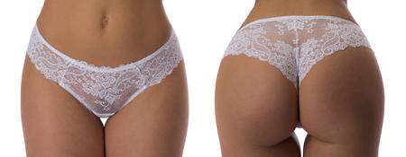 Collage. Witte slipje gebruinde vrouw lichaam close-up. Studio. Isoleer op wit