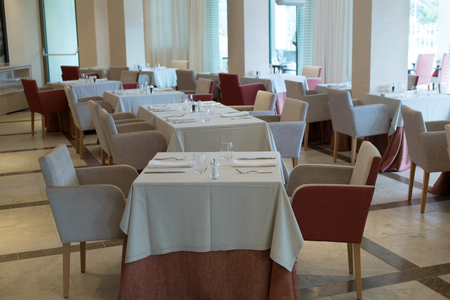 restaurant in a luxury hotel is ready to receive guests