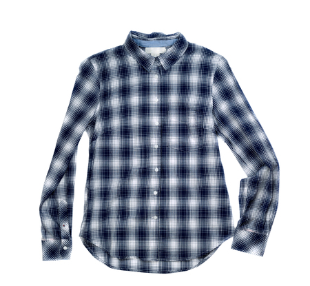 Womens plaid shirt, isolate on a white background