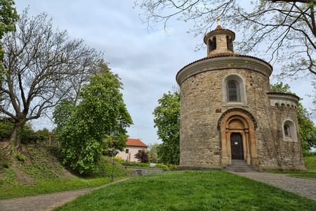 Chapel of St. Martin. One of the oldest buildings in the Romanesque style in the Visegrad. Area of the old city in Prague, Czech Republic