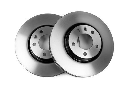 Steel brake discs, complete set. Isolate on white background