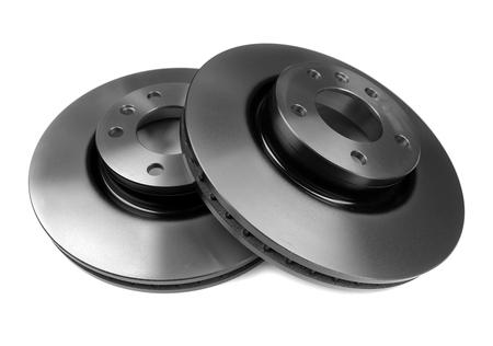 set of new brake discs. Isolate on white background Stock fotó