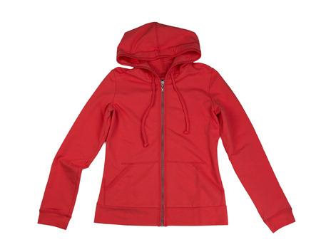 Sudadera con capucha roja. Aislar sobre fondo blanco Foto de archivo