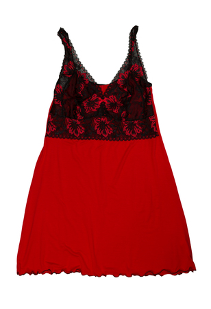 Red with a black nightgown. Isolate on white background.