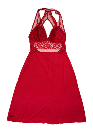 Red satin ladies nightgown. Isolate on white background
