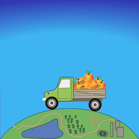 planet car: car carries the apples on the planet