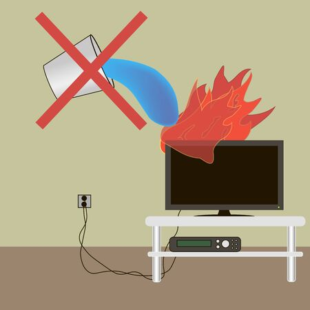 TV lights extinguish with water can not extinguish a fire extinguisher Illustration