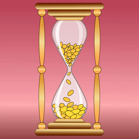 money time: glass hourglass ticking money,time is money Illustration