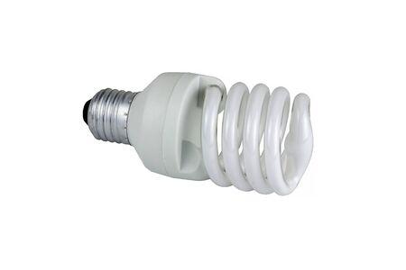 cfl: white energy saving bulb, Illuminated light bulb, CFL bulb, photo on white background Stock Photo