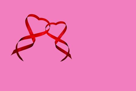 Red Ribbon Valentines day hearts