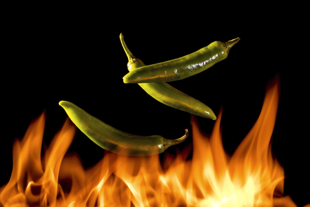 hot pepper with flames
