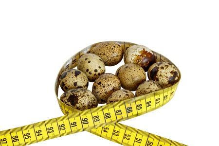 healthy quail eggs on white background