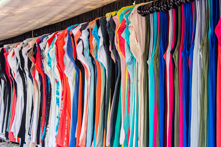 Shop summer clothing on the street