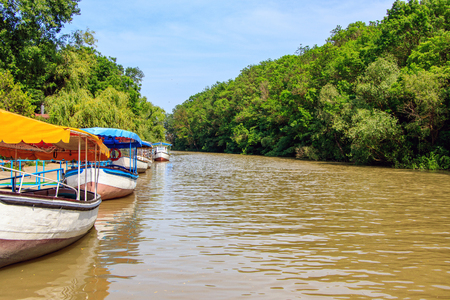 recreational boats for tourists on the river