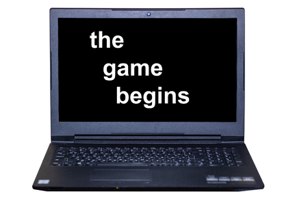 laptop monitor text-the game begins on a white background
