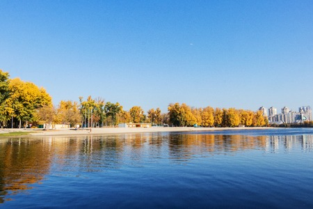 autumn landscape city beach for rest Hydropark on the river of the Dnieper in Kiev Imagens