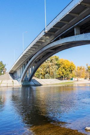 City Beach for relaxing Hydropark bridge on the river Dnepr in Kiev