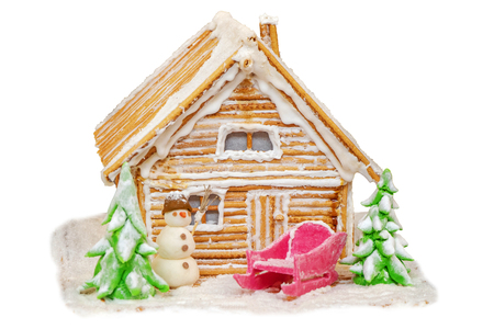 New Years fabulous house and decorations from cookies and sugar on a white background