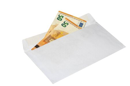 euro money in an envelope on a white background unofficial salary, bribe, bribery in an envelope. Ukraine, Kiev 08.11.2019