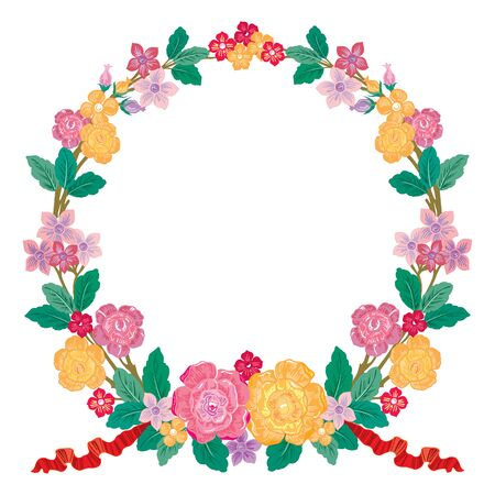 wreath of flowers in watercolor style with white background Stock Photo