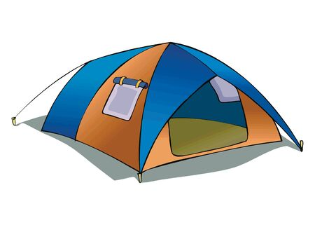 Tent camping in outdoor travel. Vector illustration for nature tourism, journey, adventure. Tent element concept