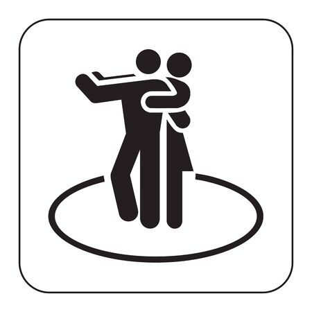 Isolated dancing icon. Black figures of athlets on white background. Sport dancing.