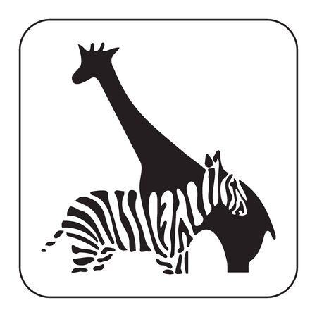 zebra and giraffe icon vector on white background, zebra trendy filled icons from Africa collection, giraffe simple element illustration Vettoriali