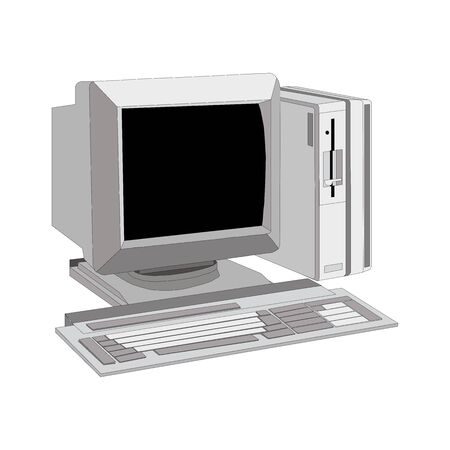 old computer unit with a monitor on a white background. Retro technology vector illustrations