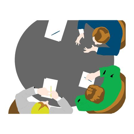 Business meeting, brainstorming in flat style. Illustration