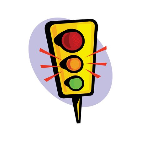 Traffic light icon. Cartoon illustration of traffic light vector icon for web