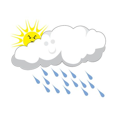 Rainy cloud with thunder and lightning, cartoon funny serious face, sun behind, hand drawn doodle, sketch isolated vector color illustration Illustration