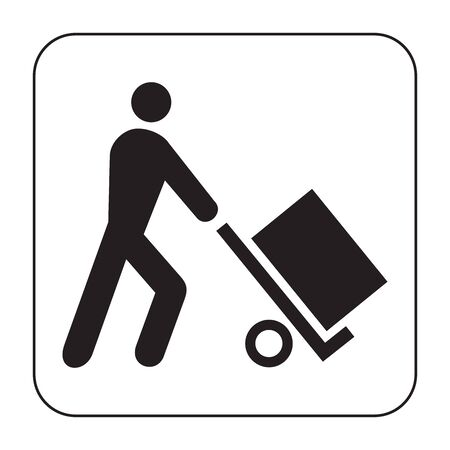 Person and luggage cart solid icon. Man and baggage cart vector illustration isolated on white. Human with baggage trolley glyph style design, designed for web and app. Eps 10